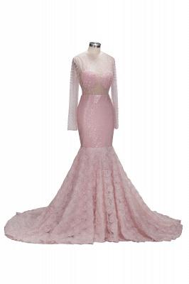 Sleeves Pink Appliques Mermaid Beadings Elegant Long Prom Dress qq0235_1