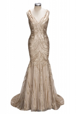 Deep V-neck Champagne Gold Sequins Prom Dresses  Mermaid Sleeveless Sexy Evening Gown FB0007_1