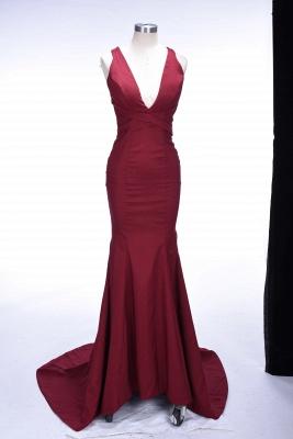 Burgundy Sleeveless Sexy V-neck Formakl Dress  Sweep Train Mermaid Prom Dress SP0259_1