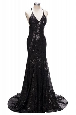 Criss-cross Sexy Split Evening Gowns  Latest Shiny Sequins Formal Dresses FB0109_1