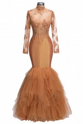 Dust Orange Long Sleeve Mermaid Prom Dress |  Beads Appliques Evening Gown FB0305_1