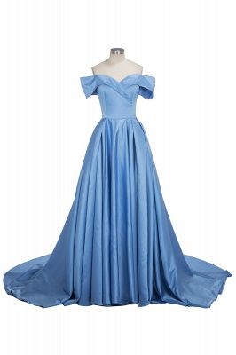Off The Shoulder Blue Formal Dresses  Elegant Front Split Popular Evening Gown FB0095_1