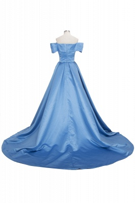 Off The Shoulder Blue Formal Dresses  Elegant Front Split Popular Evening Gown FB0095_6