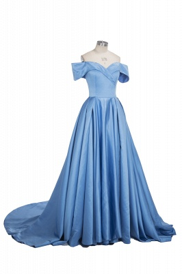 Off The Shoulder Blue Formal Dresses  Elegant Front Split Popular Evening Gown FB0095_8