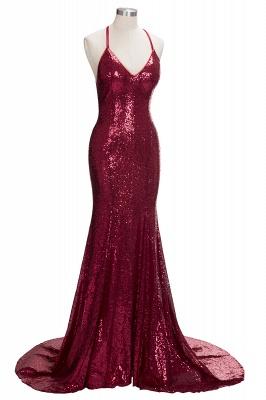 V-neck Sparkly Sequins Open Back Evening Gowns  Sleeveless  Burgundy Formal Dress FB0123_1