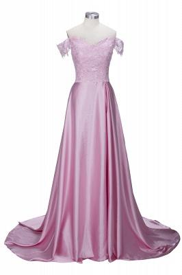 Off-the-Shoulder  Formal Dress Long Lace Split Floor Length Elegant Evening Dress_2
