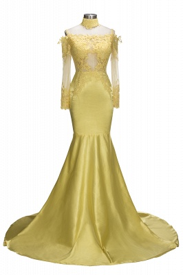 Off The Shoulder Yellow Prom Dress | Mermaid Sexy Evening Dress with Lace Chocker FB0295_1