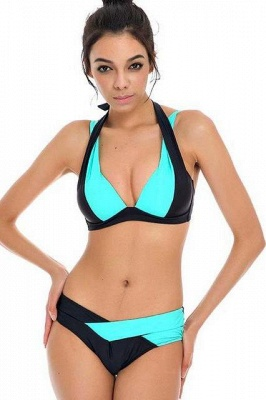 Colorful Solid Bikinis Polyamide Halter Bathing Suit_4