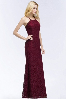 Mermaid Fit and Flare Floor Length Halter Simple Lace Burgundy Bridesmaid Dress UKes_5