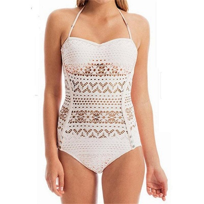 Hot Lace Hollow Halter One-Piece Swimsuit_1