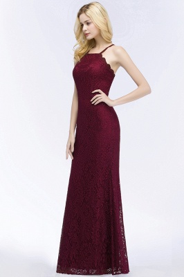 Mermaid Fit and Flare Floor Length Halter Simple Lace Burgundy Bridesmaid Dress UKes_6