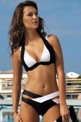 Colorful Solid Bikinis Polyamide Halter Bathing Suit_1