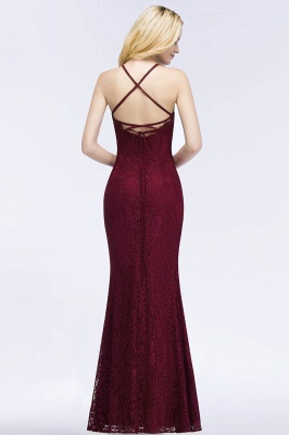 Mermaid Fit and Flare Floor Length Halter Simple Lace Burgundy Bridesmaid Dress UKes_2