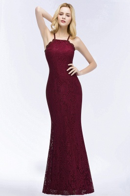 Mermaid Fit and Flare Floor Length Halter Simple Lace Burgundy Bridesmaid Dress UKes_1