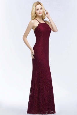 Mermaid Fit and Flare Floor Length Halter Simple Lace Burgundy Bridesmaid Dress UKes_3
