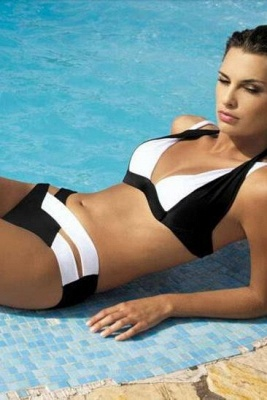 Colorful Solid Bikinis Polyamide Halter Bathing Suit_6
