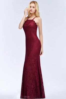 Mermaid Fit and Flare Floor Length Halter Simple Lace Burgundy Bridesmaid Dress UKes_7