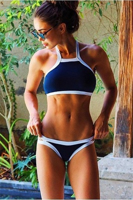Navy Blue Cut-out Tankini Bathing Suit suits_1