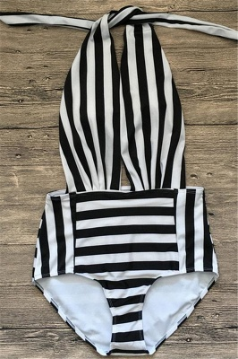 Black and white stripes One-piece Bathing Suit_4