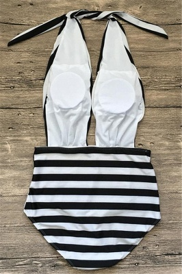 Black and white stripes One-piece Bathing Suit_3