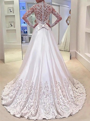 Stylish V-neck Satin Sweep Train Long Sleeves Wedding Dresses | Bridal Gowns On Sale_3