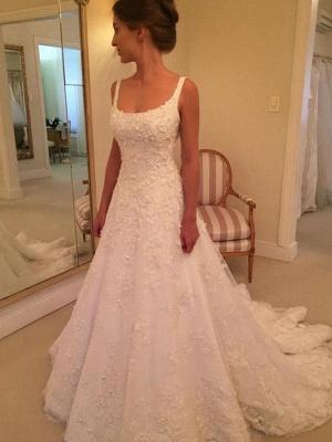 Vintage Straps Square Lace A-Line Wedding Dresses Sleeveless Appliques Open Back Bridal Gowns On Sale_4