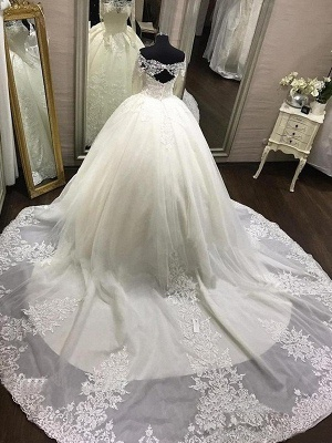 Gorgeous Tulle Off-the-Shoulder Lace Wedding Dresses Long Sleeves Appliques Cathedral Train Bridal Gowns_4