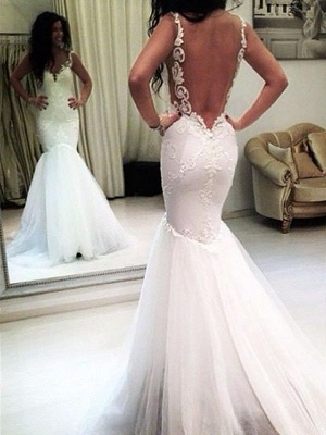 Unique Sleeveless Chapel Train Tulle Wedding Dresses Spaghetti Straps Applique Mermaid | Bridal Gowns On Sale_3