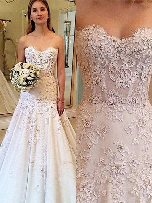 Alluring Strapless Sweetheart Lace Wedding Dresses Sleeveless Appliques Court Train Brial Gowns On Sale_1