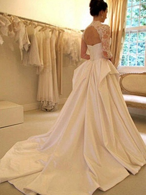 Affordable Puffy Long Sleeves High Neck Chapel Train Satin Lace Wedding Dresses | Bridal Gowns On Sale_3