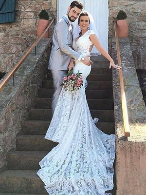 Elegant Lace Sleeveless Sweetheart Court Train Mermaid Wedding Dresses | Bridal Gowns On Sale_1