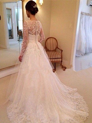 Gorgeous Puffy Long Sleeves Court Train Tulle V-neck Lace Wedding Dresses   Bridal Gowns On Sale_3