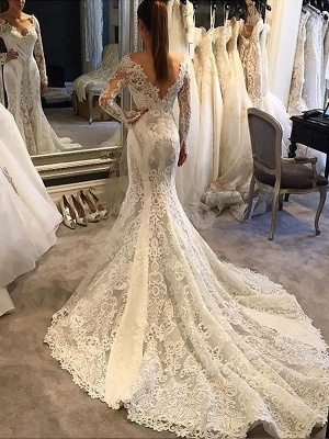 Stunning V-Neck Chiffon Lace White Wedding Dresses Long Sleeves Appliques Bridal Gowns with Court Train_1