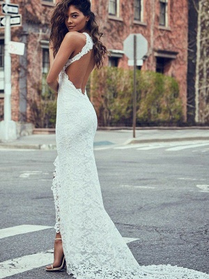 Gorgeous Sweep Train Sleeveless Halter Lace Mermaid Wedding Dresses | Bridal Gowns Online_3