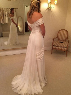 Chic Off-the-Shoulder Sleeveless Sweep Train Chiffon Ruffles Wedding Dresses | Bridal Gowns On Sale_3