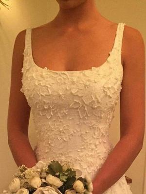 Vintage Straps Square Lace A-Line Wedding Dresses Sleeveless Appliques Open Back Bridal Gowns On Sale_3