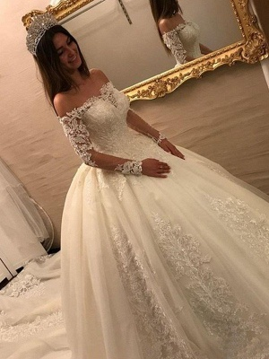 Gorgeous Tulle Off-the-Shoulder Lace Wedding Dresses Long Sleeves Appliques Cathedral Train Bridal Gowns_3