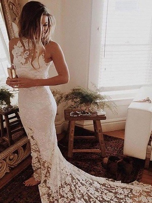 Gorgeous Sleeveless Halter Chapel Train Lace Mermaid Wedding Dresses | Bridal Gowns On Sale_1