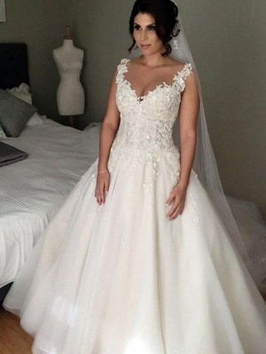 Tempting Court Train Sleeveless Wedding Dresses V-Neck Tulle Applique Lace Bridal Gowns On Sale_1