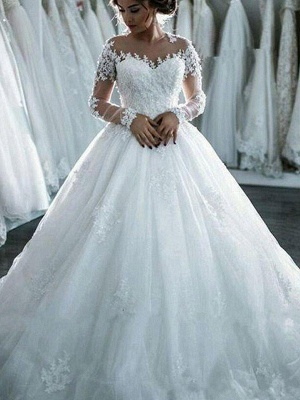 Elegant Scoop Applique Long Sleeves Tulle Wedding Dresses Puffy Chapel Train | Bridal Gowns Online_5