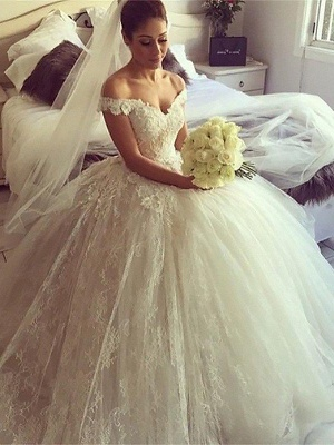Gorgeous Ball Gown Off-the-Shoulder Lace Wedding Dresses Sweetheart Appliques Bridal Gowns with Court Train_3
