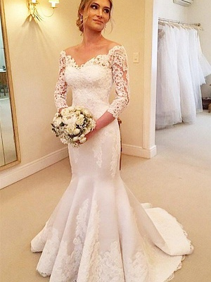 Stunning Off-the-Shoulder Mermaid Wedding Dresses Satin Lace 3/4 Sleeves Bridal Gowns with Court Train On Sale_3