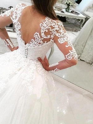 Alluring V-Neck Tulle Lace Mermaid Wedding Dresses Long-Sleeves Appliques Bridal Gowns with Overskirt_3