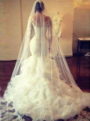Scoop Court Train Tulle Long Sleeves Mermaid Lace Wedding Dresses | Bridal Gowns On Sale_4