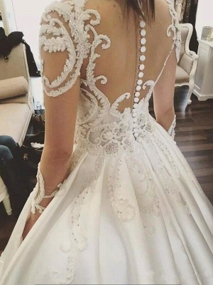 Puffy Scoop Cathedral Train Applique Wedding Dresses Long Sleeves Satin | Bridal Gowns On Sale_5