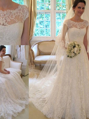 Jewel Lace A-Line White Wedding Dresses Short Sleeves Appliques Court Train Bridal Gowns On Sale_4