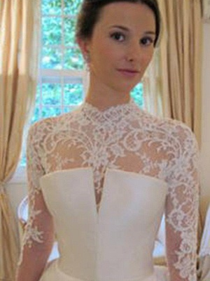 Affordable Puffy Long Sleeves High Neck Chapel Train Satin Lace Wedding Dresses | Bridal Gowns On Sale_4