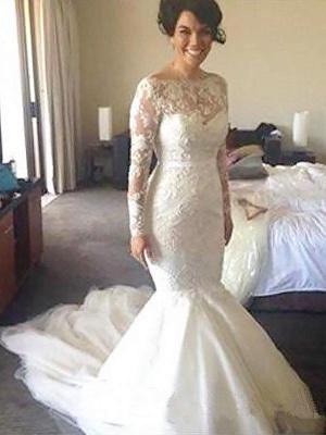Unique Court Train Long Sleeves Wedding Dresses Tulle Applique Bateau | Bridal Gowns Online_1