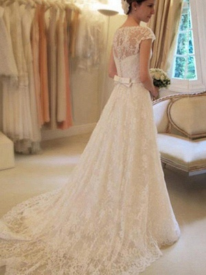 Jewel Lace A-Line White Wedding Dresses Short Sleeves Appliques Court Train Bridal Gowns On Sale_3