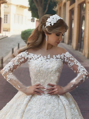 Stylish Satin Jewel Chapel Train Lace Wedding Dresses Long-Sleeves Appliques Bridal Gowns Online_4